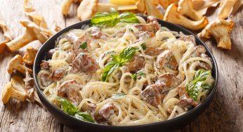 Spaghetti aux champignons et crème de parmesan