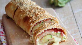 Feuilleté de courgettes à la mozzarella et au jambon
