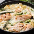 Gratin de saumon et asperges à la sauce au parmesan