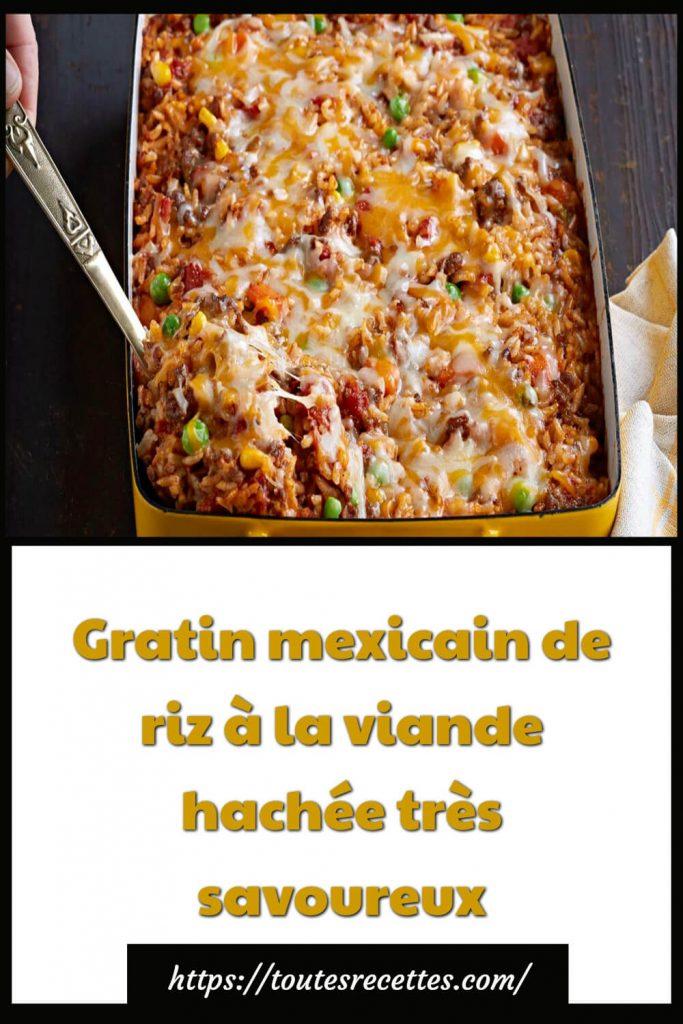 Comment préparer le gratin mexicain de riz à la viande hachée