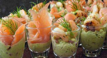Verrines de crabe, saumon et crevettes Apéritif rapide