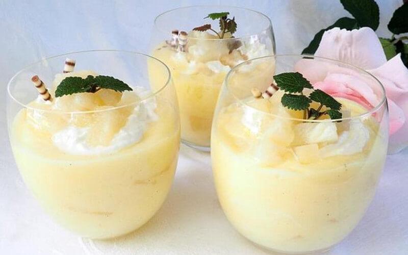 Crème d'ananas en verrines dessert léger