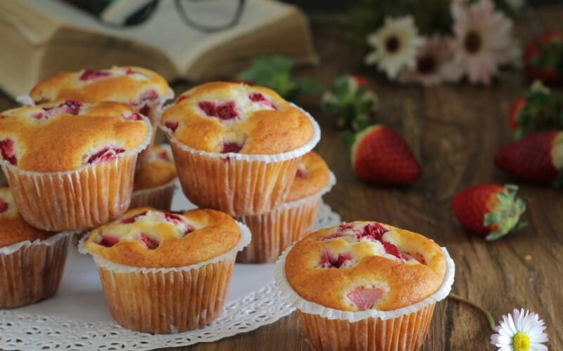 Muffins aux fraises et ricotta